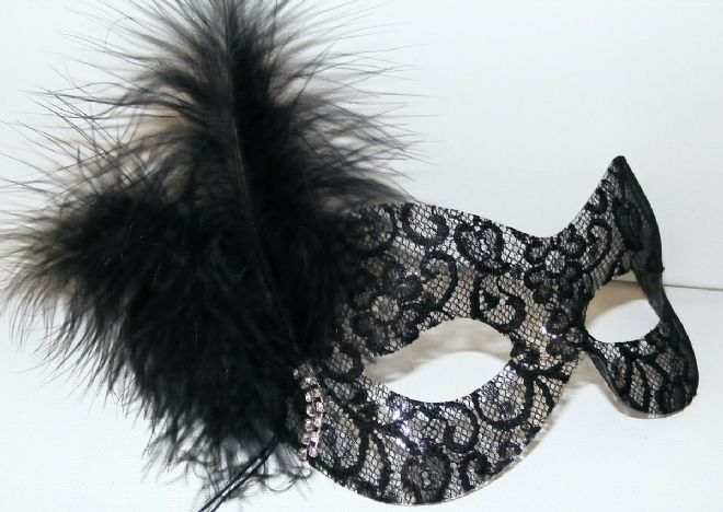 Black lace diamonte drop feather mask